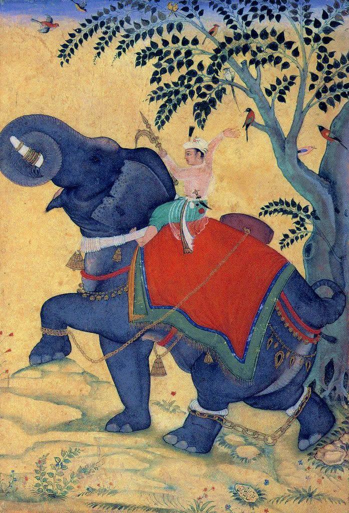 Emperador Akbar domestica un elefante macho